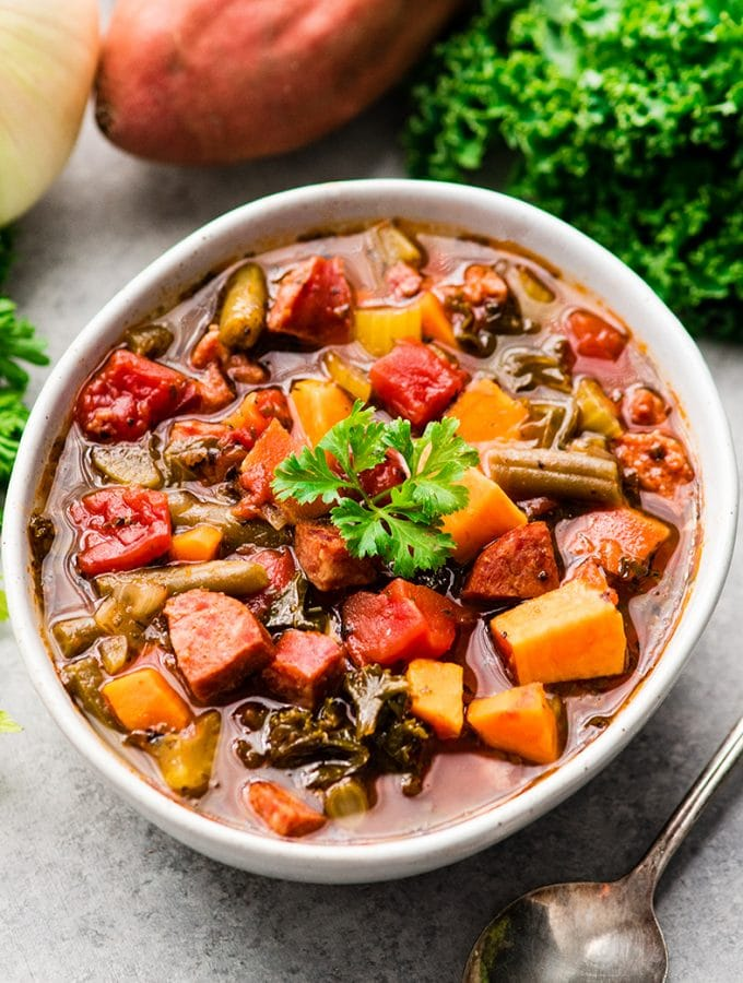 Sausage Kale Soup with Sweet Potatoes