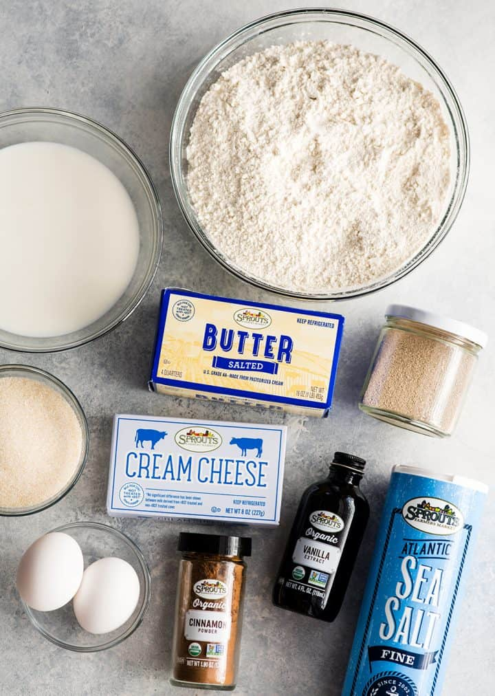 overhead view of the ingredients in this cinnamon rolls recipe