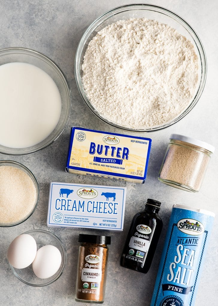 overhead view of the ingredients in this Best Cinnamon Rolls Recipe (Better than Cinnabon)