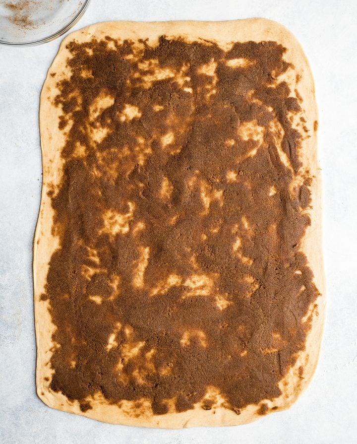 overhead photo showing how to make cinnamon rolls