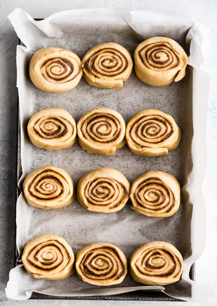 Overhead photo showing how to make cinnamon rolls