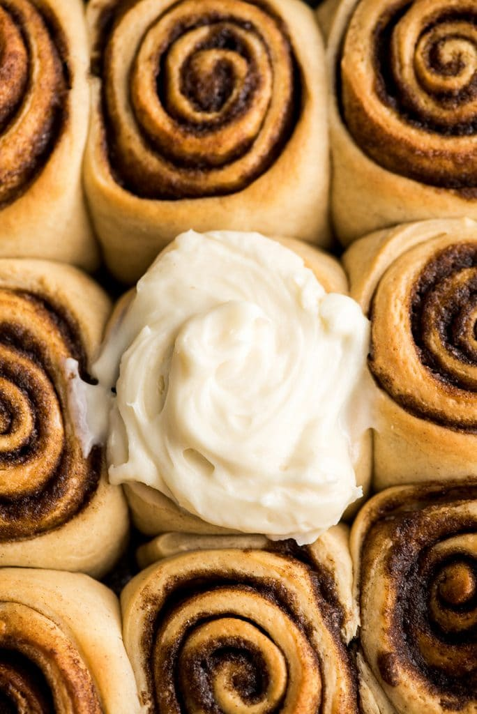 overhead view of this cinnamon roll recipe baked with only one cinnamon roll frosted