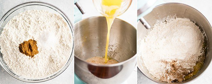collage of an overhead view of the first three steps in making the dough for this Best Cinnamon Rolls Recipe (Better than Cinnabon)