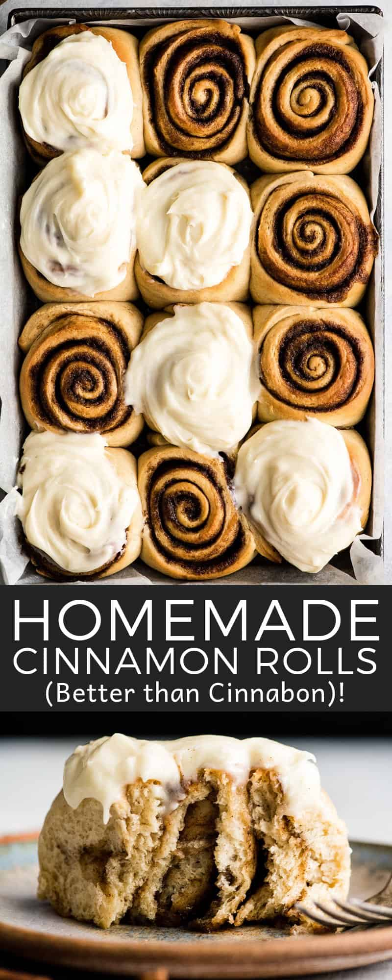 This is the Best Homemade Cinnamon Rolls Recipe EVER! These gooey cinnamon rolls are even better than Cinnabon cinnamon rolls, and are topped with the best cream cheese frosting! They're easy to make and can be prepared the day before and left to rise overnight in the refrigerator. #cinnamonrolls #breakfast #cinnabon #bestcinnamonrolls #baking