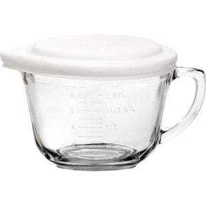 Front view of a glass batter bowl, part of the list of Best Kitchen Gifts (for the Hostess, Chef or Foodie)
