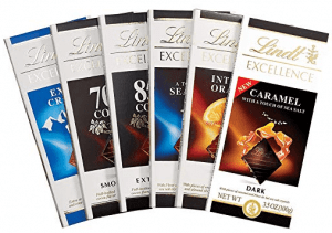 Front view of a six chocolate bars, part of the list of Best Kitchen Gifts (for the Hostess, Chef or Foodie)