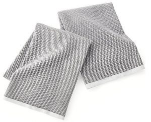 Front view of two gray kitchen towels, part of the list of Best Kitchen Gifts (for the Hostess, Chef or Foodie)