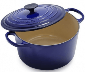 Front view of a dutch oven, part of the list of Best Kitchen Gifts (for the Hostess, Chef or Foodie)