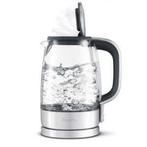 Front view of a glass electric tea kettle, part of the list of Best Kitchen Gifts (for the Hostess, Chef or Foodie)