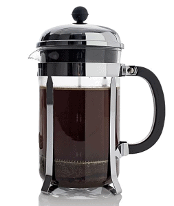 Front view of a bodum French Press, part of the list of Best Kitchen Gifts (for the Hostess, Chef or Foodie)
