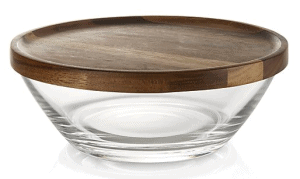 Front view of a glass bowl with a wooden lid, part of the list of Best Kitchen Gifts (for the Hostess, Chef or Foodie)