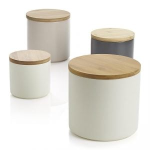 Front view of a four canister set, part of the list of Best Kitchen Gifts (for the Hostess, Chef or Foodie)