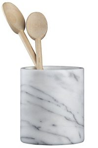 Front view of a marble utensil holder, part of the list of Best Kitchen Gifts (for the Hostess, Chef or Foodie)