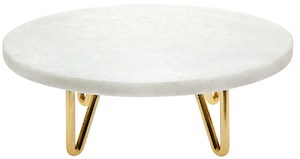 white marble and gold cake stand
