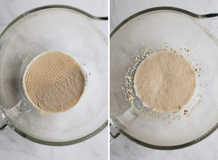 two photos showing How to make cinnamon rolls - yeast proofing