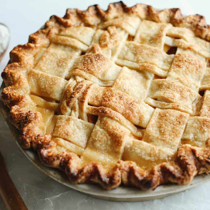front view of a Butter Pie Crust in a lattice pattern baked