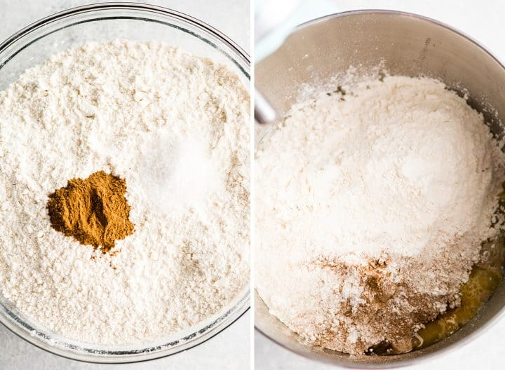 two overhead photos showing how to make cinnamon rolls