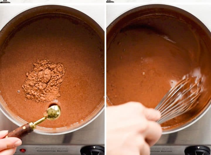 two overhead photos showing How to make Peanut Butter Hot Chocolate