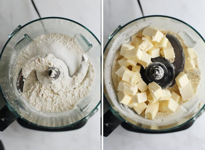 two overhead photos showing How to Make Pie Crust in a food processor