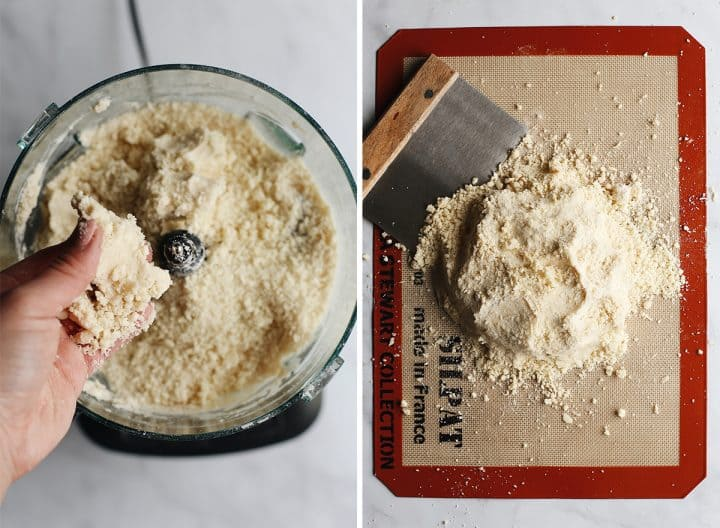 two overhead photos showing How to Make Pie Crust - left in the food processor right on a surface gathering mixture into a ball