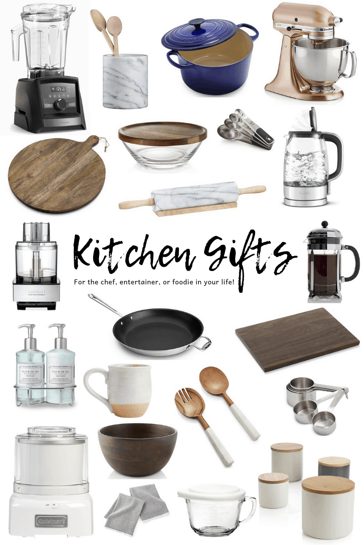 Kitchen gifts for any occasion! See our list of useful kitchen gift ideas, including must have kitchen gadgets, tools, serving pieces and more! So many hostess gift ideas perfect for the entertainer, chef or foodie in your life! #kitchengifts #giftideas #formom #kitchengadgets #christmas #thanksgiving #hostessgifts #holidays