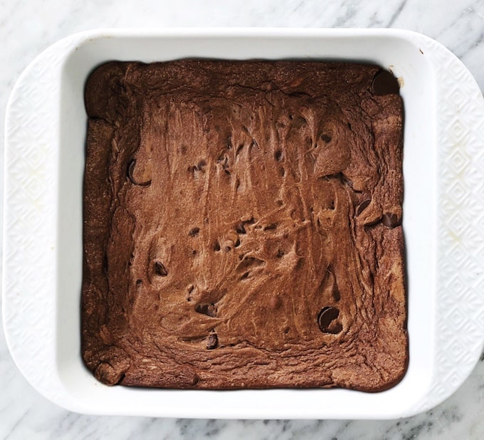 Overhead view of flourless brownies , Moments November 2018