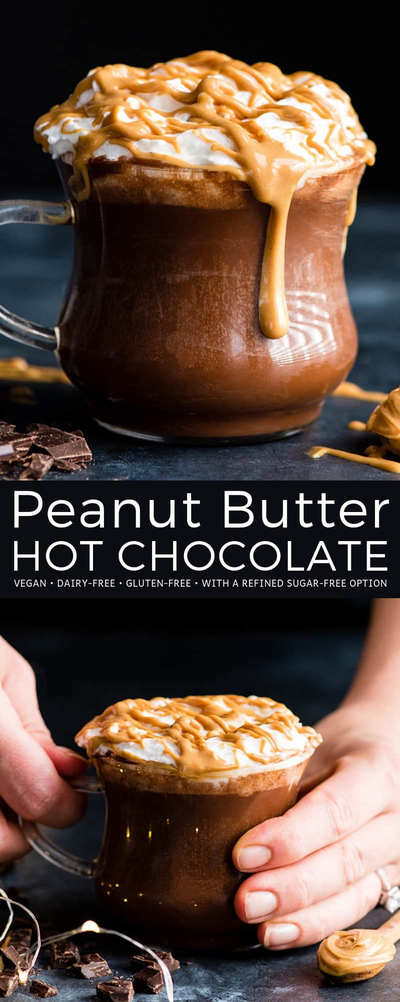 This healthy Homemade Peanut Butter Hot Chocolate Recipe is creamy, chocolatey and bursting with peanut butter flavor! It's vegan, dairy-free, and gluten-free with a refined sugar-free option (but can also be made with regular milk or cream)! This easy homemade hot chocolate is ready in 10 minutes and a perfect warm treat to enjoy after playing in the snow! #peanutbutter #hotchocolate #hotcocoa #healthyrecipe #vegan #dairyfree #glutenfree