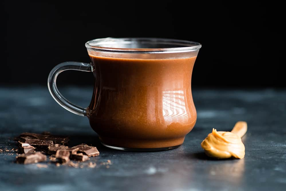 front view of a mug of peanut butter hot chocolate, Moments November 2018