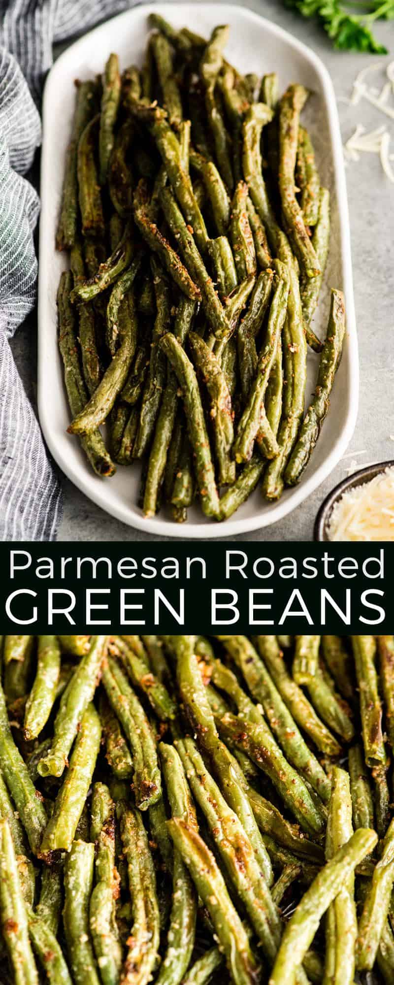 This Roasted Parmesan Green Beans recipe is a healthy & flavorful side dish! Made with only six ingredients in 30 minutes, these baked green beans are so easy and a great way to prepare frozen or fresh green beans!#greenbeans #roastedgreenbeans #parmesangreenbeans #sidedish #thanksgiving #christmas #healthyrecipe