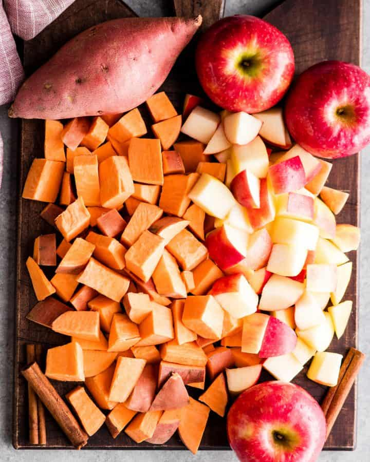 overhead photo of the ingredients in this sweet potatoes and apples recipe