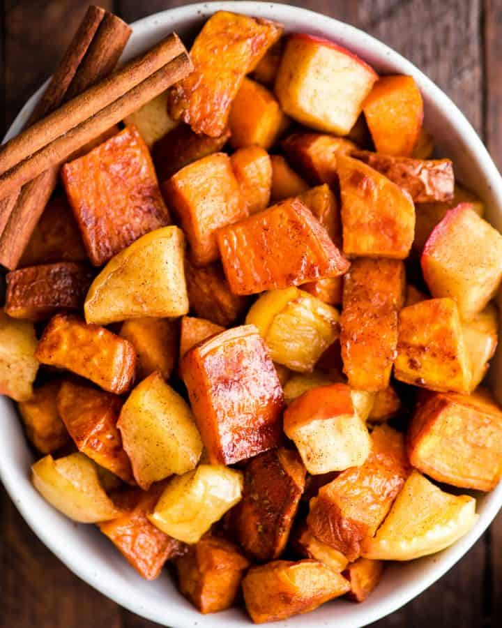 overhead view of Cinnamon Roasted Sweet Potatoes and Apples in a serving dish