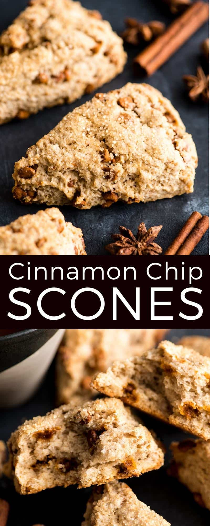 The best EVER Homemade Cinnamon Scones Recipe (with Cinnamon Chips)! These cinnamon chip scones are buttery & moist, easy to make for breakfast or brunch, and are even better than Starbucks & Panera! Perfect to enjoy with a cup of coffee in the mornings! #scones #cinnamonchips #starbucks #panera #cinnamonscones #baking #recipe