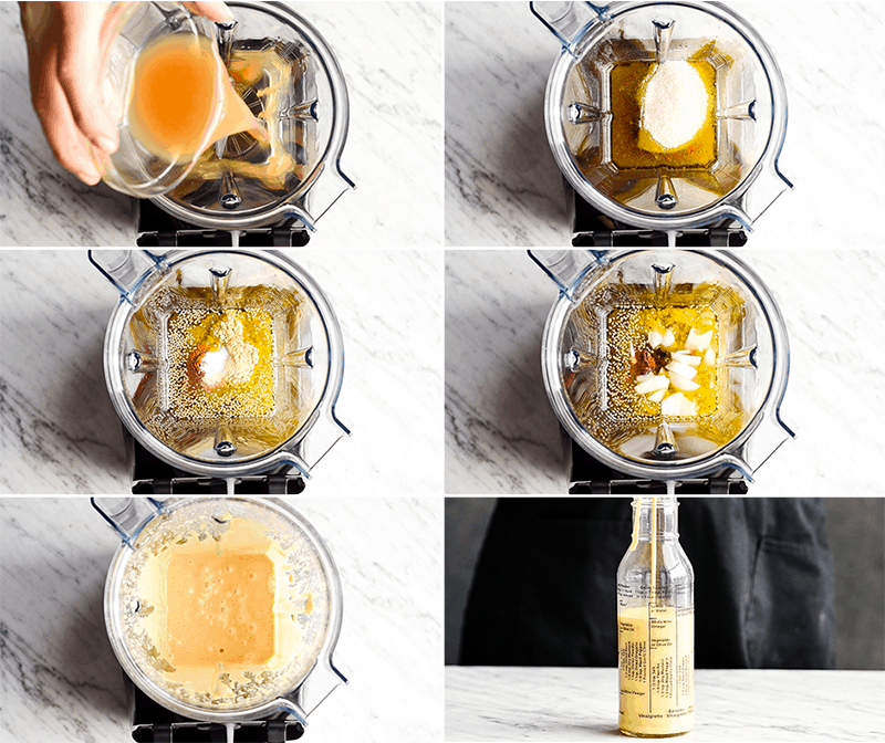 A collage of six photos showing the steps in making this Apple Cider Vinaigrette salad dressing in the Vitamix Blender