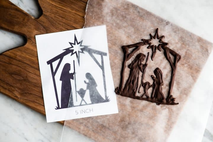 Overhead view of a finished and hardened nativity cake topper to put on this Birthday Cake for Jesus