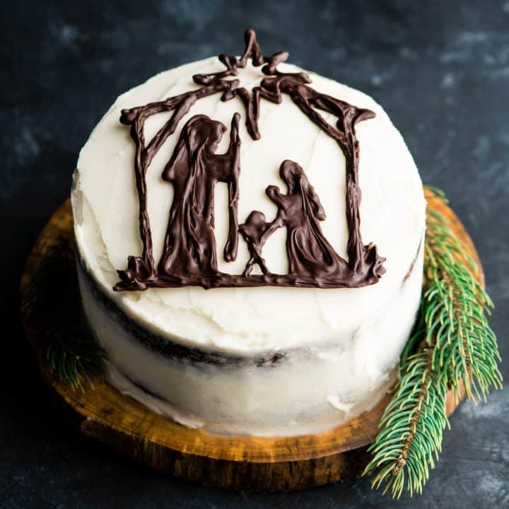 front overhead view of a Nativity Cake (Birthday Cake for Jesus)!