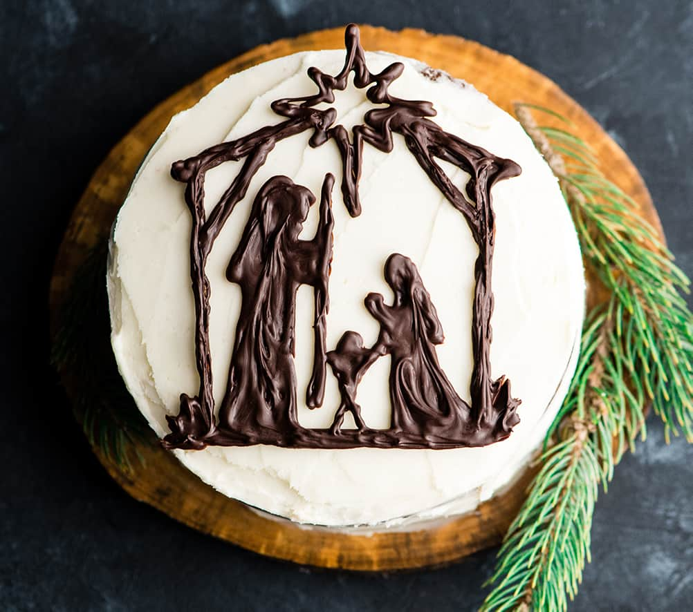 Overhead view of a Birthday Cake for Jesus showing the chocolate nativity scene
