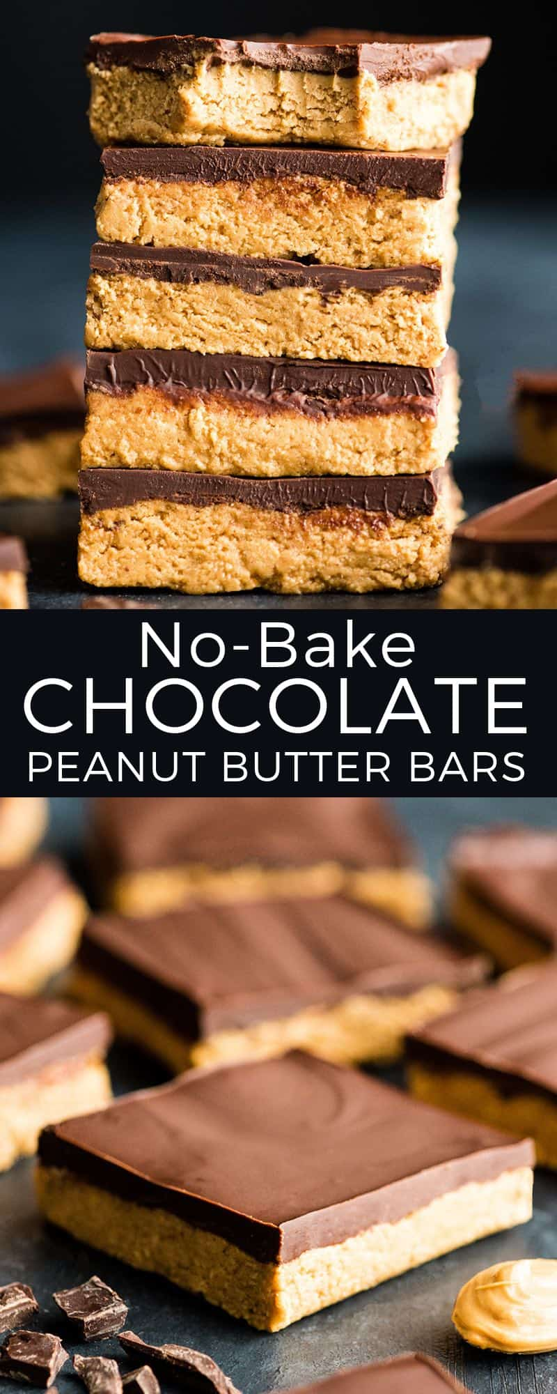 No-Bake Chocolate Peanut Butter Bars are SO easy to make! This recipe is made with 7 ingredients and is ready in 15 minutes! , Plus they can be made vegan (dairy-free) or gluten-free!  #peanutbuttercup #nobakepeanutbutterbars #nobake #peanutbutter #cookies #bars #vegan #glutenfree