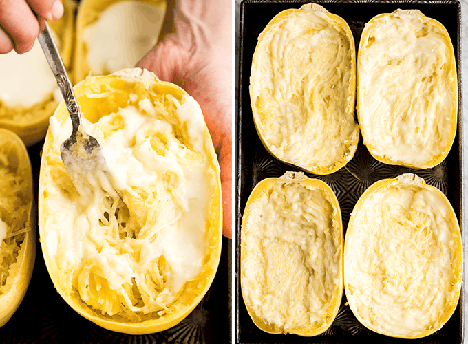 Two overhead photos: the left showing a fork mixing the cheese sauce into the shredded spaghetti squash, the right showing four spaghetti squash halves with the cheese sauce mixed in for this Spaghetti Squash Mac and Cheese
