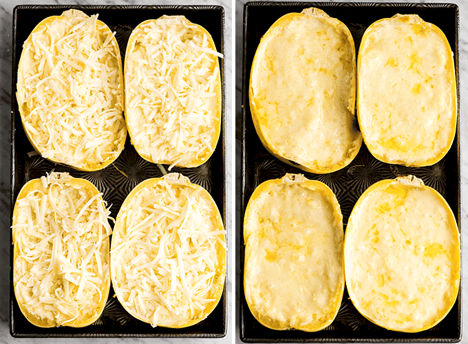 Two overhead photos, the left showing four spaghetti squash halves sprinkled with cheese before baking, the right showing the four halves of Spaghetti Squash Mac and Cheese after baking