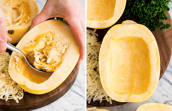 a two-photo collage, the right showing hands scooping the seeds out of a half of a spaghetti squash, the right sowing the seeded squash in the making of this Spaghetti Squash Mac and Cheese recipe