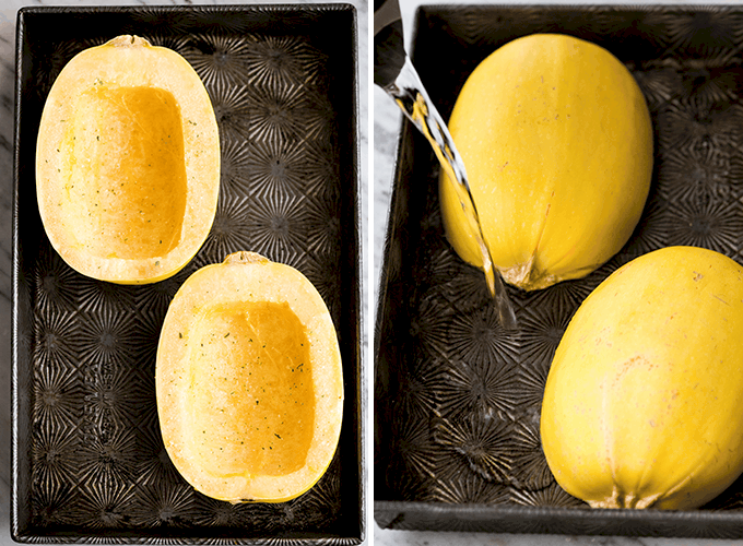two photos: the left showing two spaghetti squash halves sprinkled with olive oil and spices, the right showing them cut side down in a baking pan as water is being poured into the pan before roasting in the making of this Spaghetti Squash Mac and Cheese recipe