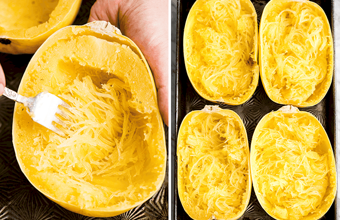 two photos: the left showing hands using a fork to shred a roasted spaghetti squash, the right showing four shredded spaghettis squash halves in a baking sheet in the making of this Spaghetti Squash Mac and Cheese