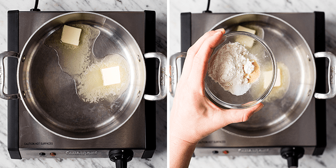 two photos: the left showing butter melting in a saucepan and the right showing a hand holding the dry ingredients about to be poured over the melted butter in the making of this Spaghetti Squash Mac and Cheese
