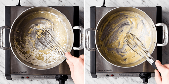 two overhead photos showing how to make the roux in the cheese sauce for this Spaghetti Squash Mac and Cheese
