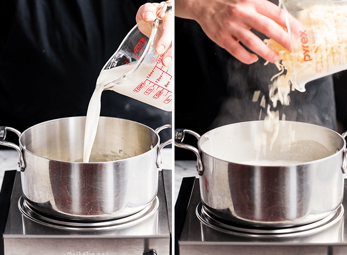 two photos showing the front view in making the cheese sauce for this Spaghetti Squash Mac and Cheese recipe. The left shows milk being poured into the saucepan, the right photo shows cheese being added to the mixture in the making of this Spaghetti Squash Mac and Cheese