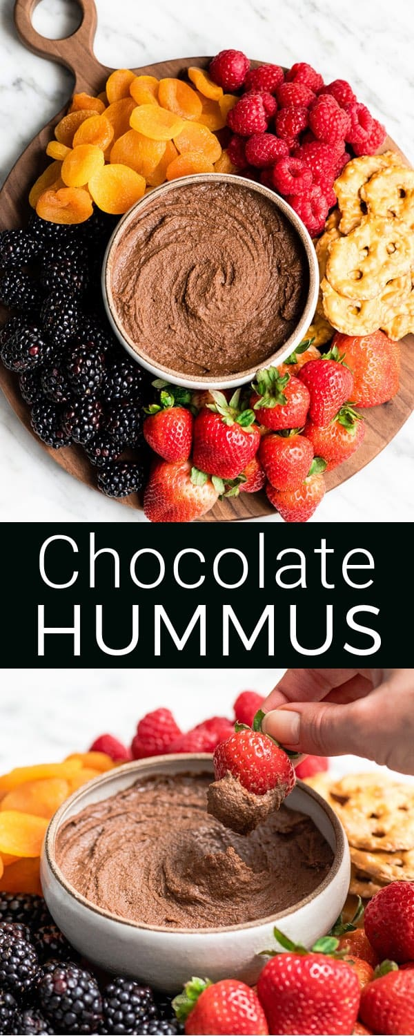Healthy Chocolate Hummus Recipe is easy to make and ready in 5 minutes! It's a nutritious dip, appetizer, dessert, snack or spread that everyone in my family, including my kids, loves. This dessert hummus recipe is gluten-free, dairy-free, has no refined sugar & it's vegan! #hummus #chocolatehummus #vitamix #desserthummus #vegan