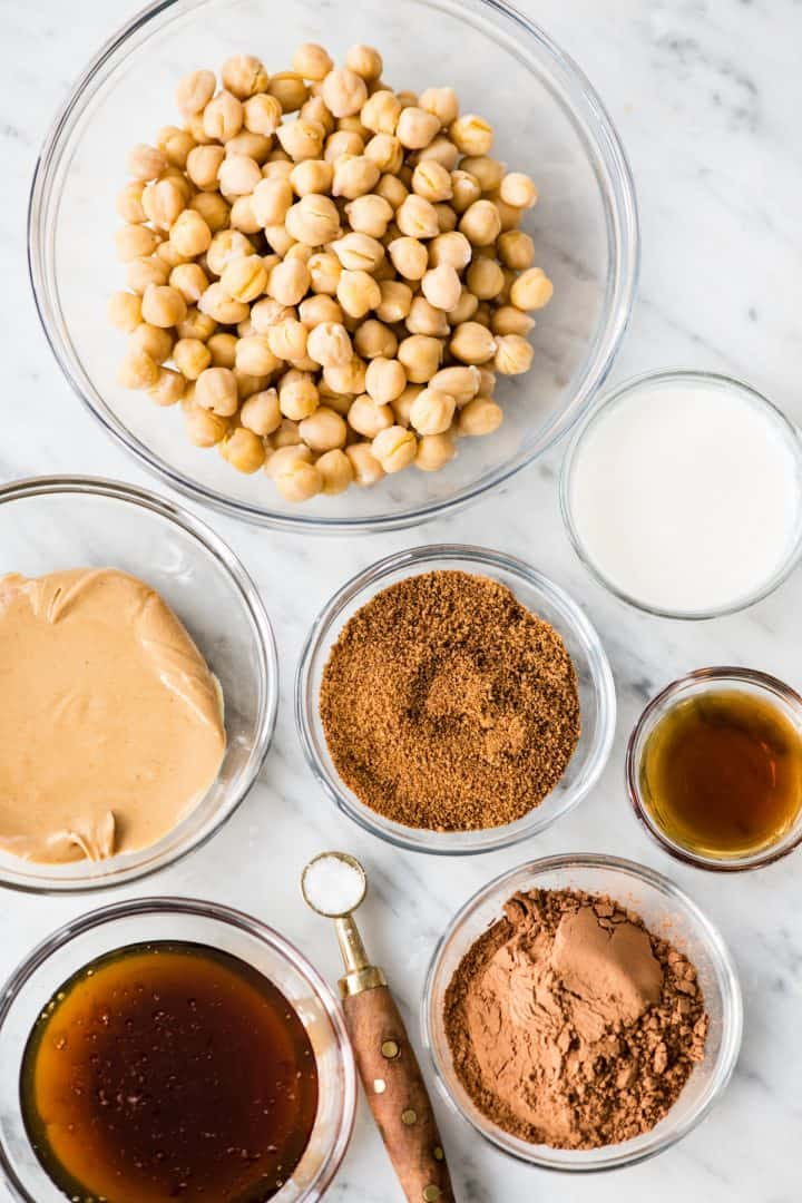 Overhead photo of the ingredients used to make Chocolate Hummus