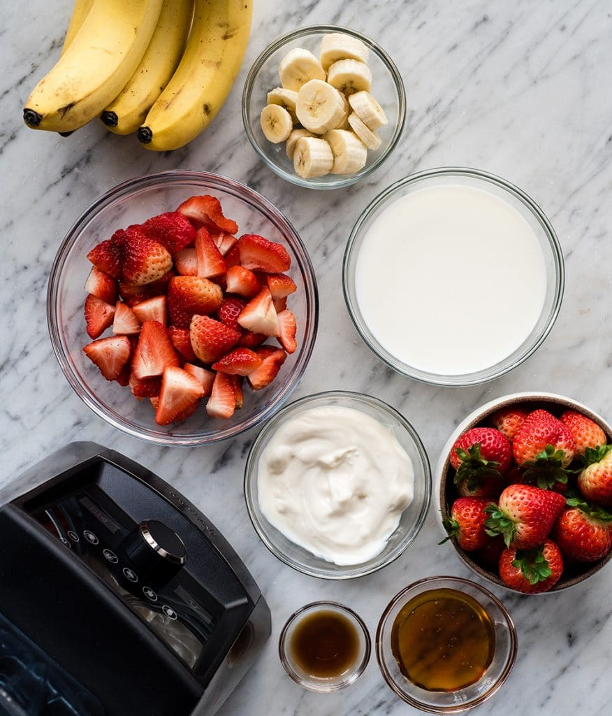 Overhead view of the ingredients in this Strawberry Banana Smoothie recipe