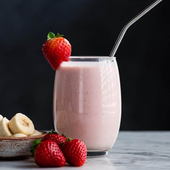 Front view of a glass full of a Strawberry Banana Smoothie