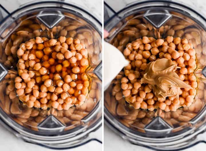 two overhead photos showing How to Make Chocolate Hummus in a Vitamix blender
